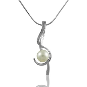 Freshwater Cultured Pearl 14K Gold Over On .925 Sterling Silver Treble Clef Hypoallergenic Necklace 16