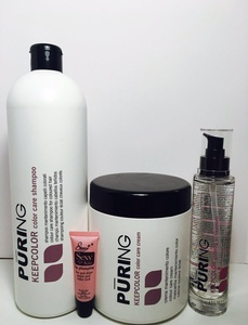 Mx Puring Keepcolor Color Care Shampoo 33.8oz, Cream Mask 33.8oz & Glittering Leave in Oil Treatment Set 3.38oz Free Starry Sexy Kiss Lip Plumping Gloss tube 10ml