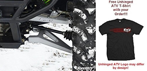 Bundle 2 items: SuperATV Kawasaki Teryx High Clearance Forward Offset Boxed A-Arms and Free Unhinged ATV T-Shirt (2X, White Aluminum)