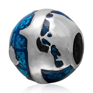 925 Sterling Silver Blue Earth Enamel Charm Bead Compatible with 3mm Snake Chain Bracelet