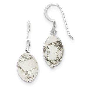 .925 Sterling Silver 28 MM White Howlite Earrings