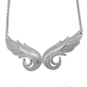 IGI Certified 14K White Gold Double Angel Feather Diamond Pendant Necklace (1/3 Carat)