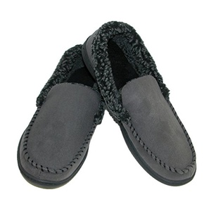 Dearfoams Mens Microsuede Moccasin Slippers with Memory Foam, Xlarge, Pavement