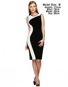 O-neck Stretch Bodycon Contrast Dress medium white