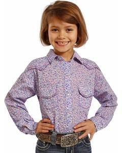 Panhandle Slim Girls' Ditsy Floral Western Shirt Print Medium