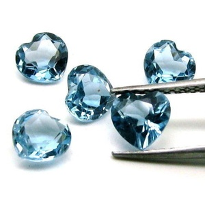 Natural London Blue Topaz 7mm 2 Pieces Heart Faceted Cut Blue Color Top Quality Loose Gemstone