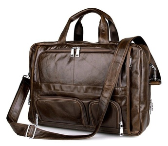 Men's Brown Top-Zip Leather 17 Inch Laptop Handbag Briefcases Messenger Shoulder Laptop Bag(Brown)