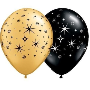 Black & Gold Sparkles & Swirls 11 Qualatex Latex Balloons (10 Pack) by Qualatex