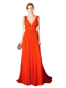 LiCheng Bridal V-neck Chiffon Backless Long Prom Dresses Evening Gown Orange US16