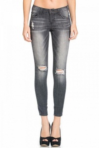 Cello Jeans Women's Dark Distressed Skinny