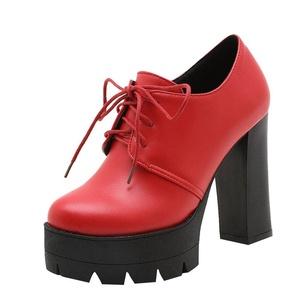 Show Shine Women's Fashion Lacing Up High Heel Platform Martin Boots (7.5, black)