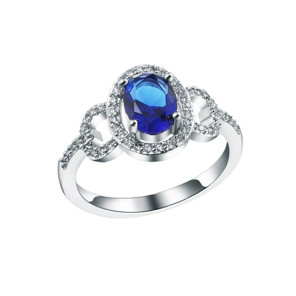 Sterling Silver Blue Crystal Bowknot CZ Cublic Zircon Finger Ring Bridal Wedding Jewelry US Size 6/7/8/9