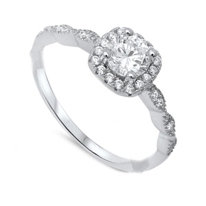 Solitaire Accent Dazzling Halo Wedding Engagement Ring Round Cubic Zirconia Round CZ 925 Sterling Silver