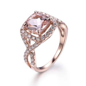 8mm Cushion Cut Morganite Engagement Ring,VVS Pink Gemstone,Solid 14K Rose Gold,Diamond Wedding Band