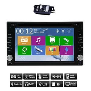 Double 2 Din Car Autoradio Stereo In Dash Deck Head Unit Steering Wheel Control GPS Navigation SAT NAV Audio Video Touch Screen Bluetooth DVD/CD/MP3/MP4/USB/SD/AM/FM Radio & Backup Camera