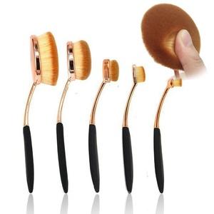 NatureBeauty 5 Pcs Oval Makeup Brush Set Professional Foundation Contour Concealer Blending Cosmetic Brushes (Rose Gold Black)