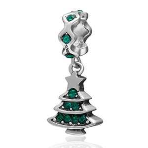 Leobeads 925 Sterling Silver Christmas Tree Gift Charm Dangle Pendant Fit Pandora Style Necklace Bracelet Jewelry (Creen)