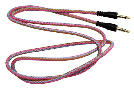 NEON Nylon Auxiliary Cord (3.5mm - Male to Male) - 3 Foot AUX Cable (Android & iPhone) (Pink, Light Blue, Orange)