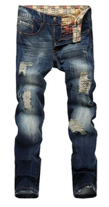 Plaid&Plain Men's Washed With Patches Skinny Distressed Ripped Tapered Leg Jeans Blue-1 28