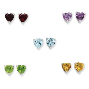 .925 Sterling Silver 6 MM Gemstone Post Stud Earring Set