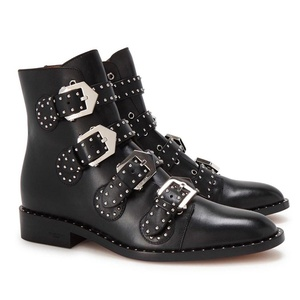 YE Women's Pointed Toe Block Genuine Leather Full Grain Leather Buckle Studded Ankle Boots
