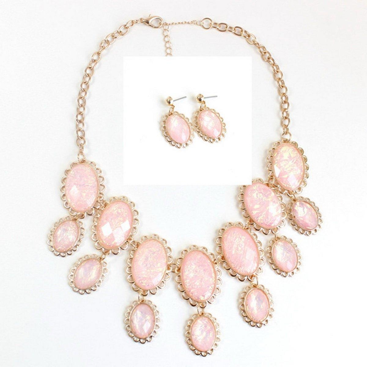 ARICO Pink Gold Plated Jewelry Set Resin Necklace Set and Earrings Geometric Jewelry Sets Multi Layer NE351