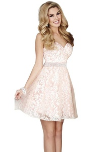JoyVany 2016 Lace Applique Short Bridesmaid Dresses with Beaded Belt Pink Size 6