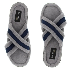 Gold Toe Men's Remy Open Toe Criss Cross Strap Microterry Spa Slide Slipper with Non-Slip Indoor Outdoor Outsole Grey/Navy 11 D(M) US