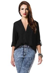 Tobyak Women's Long-sleeve Print Chiffon Fashion Slim Blouses Shirt Black3Medium popular.