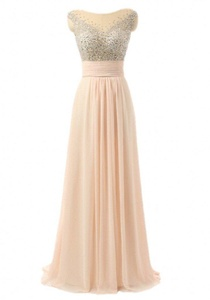 Winnie Bride Women's Beading Prom Evening Party Dresses with Cap Sleeves Long-26W-Pink