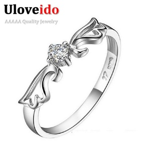Slyq Jewelry Angel Engagement Ring Lovers' Silver Plated Crystal Jewelry Wedding Ring Anel Aneis J001