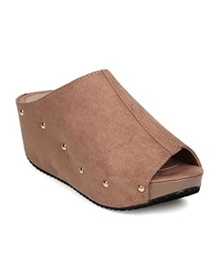 Refresh FG25 Women Faux Suede Peep Toe Studded Platform Wedge Mule - Taupe (Size: 7.0)