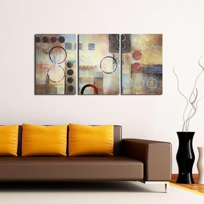 Online store rtland modern 100 hand painted abstract oil for What kind of paint to use on kitchen cabinets for 3 piece photo wall art