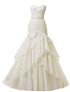 Rachel Weisz Women's Vintage Lace Sweetheart Mermaid Sash Wedding Dresses Bride Evening Formal Ball Gown White US12
