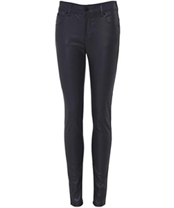 Armani Jeans Women's Faux Leather Skinny Trousers Black 30