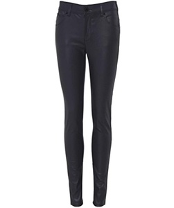 Armani Jeans Women's Faux Leather Skinny Trousers Black 30