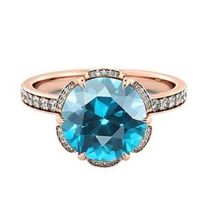 14K Rose Gold 2.00 ctw Blue Topaz Ring with Diamonds Flower Vintage Halo