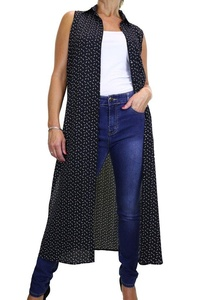 ICE (4078-1) Maxi Tunic Over Shirt Tiny Feathers Black (XXL/XXXL)