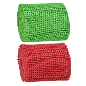 Floral Garden Burlap Ribbon Christmas Red and Green Set of 2