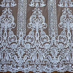 New ivory Robin sequins embroidered wedding dress lace fabric 51'' width by yard