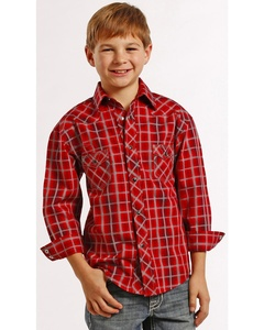 Rock & Roll Cowboy Boys' And Plaid Snap Western Shirt Plaid X-Large