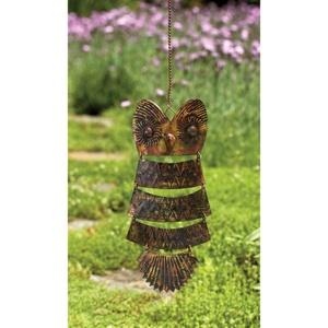 Ancient Graffiti Owl Antique Brass Hanging Garden Decor