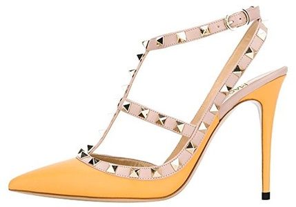 Maovii Women's Fashion Big Size Pointed Toe High Heels T-strap Pumps Studded High Heel Sandals For Wedding Party Dress 10.5 M US Yellow PU