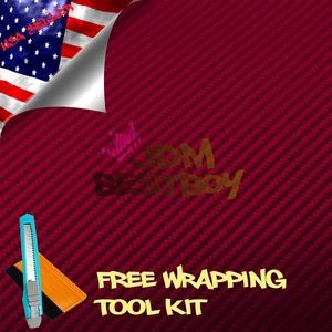 Free Tool Kit EZAUTOWRAP 3D Burgundy Carbon Fiber Textured Car Vinyl Wrap Sticker Decal Film Sheet - 60