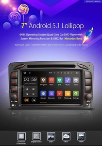 XTRONS 7 Inch Quad Core Android 5.1 Lollipop Car Stereo Radio Capacitive Touch Screen DVD Player GPS 1080P Video Screen Mirroring OBD2 Wifi CANbus Built-in DAB+ Tuner for Mercedez-Benz CLK-W209/C-W203