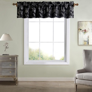Single Piece Black 50 Inches Wide And 15 Inches Long Window Valance, Straight Type, Rod Pocket, Damask Pattern, Jacquard Valance, Traditional Style, Polyester Material, Machine Washable, Dark Gray