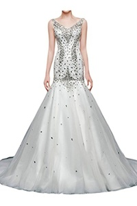 Charm Bridal Mermaid Sleeveless Beaded Ball-gown Women Wedding Dress with Train -14-Ivory