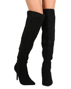 Qupid FE60 Women Faux Suede Pointy Toe Over The Knee Stiletto Boot - Black (Size: 8.0)