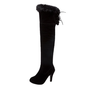 Show Shine Women's High Heel Lace Up Weatern Tall Boots (7, black)