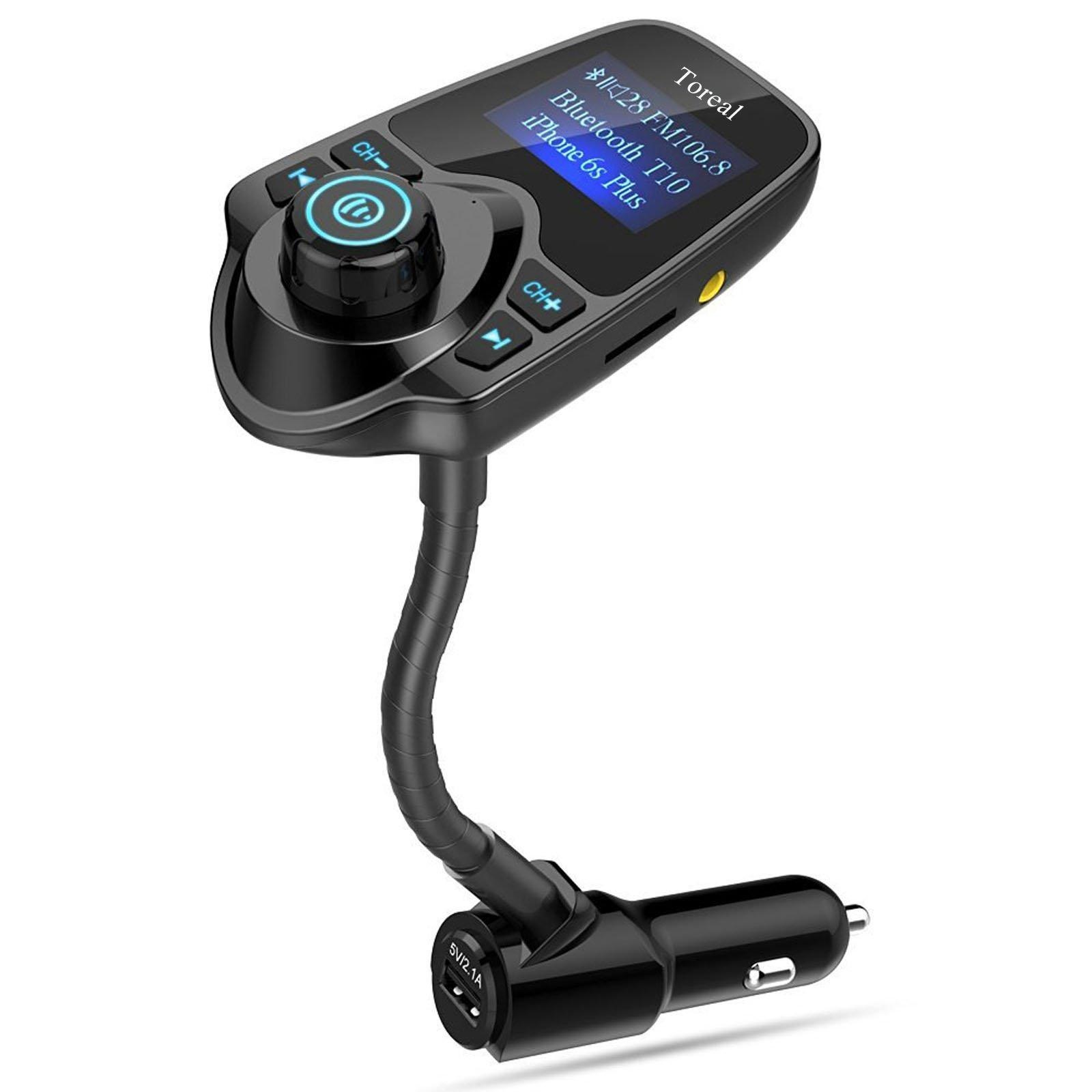 Toreal Wireless In-Car Hands Free Bluetooth FM Transmitter Radio Adapter Audio Receiver Stereo Music Car Kit with 1.44 Inch Display and USB Car Charger